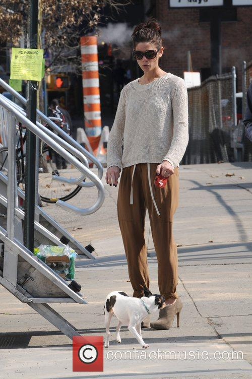 Seen walking her dog on the set of...