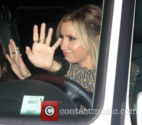 Ashley Tisdale leaves the Hollywood Roosevelt Hotel after...