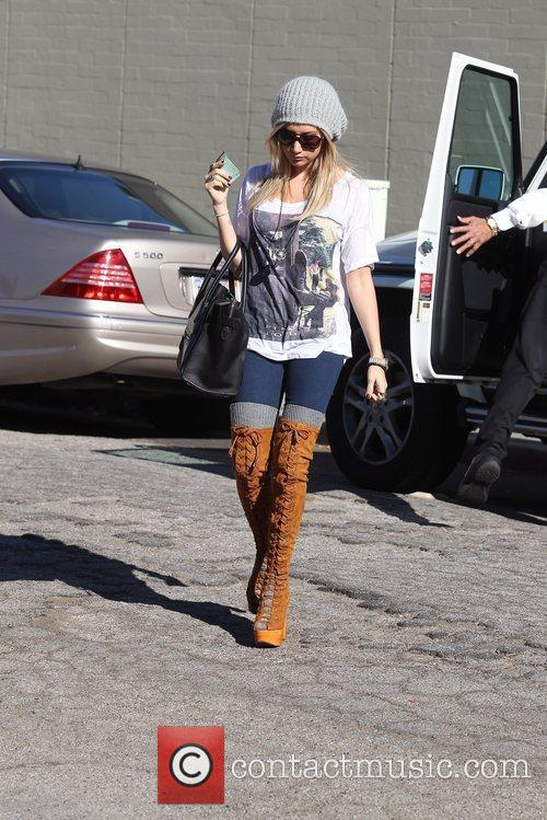Ashley Tisdale arrives at breakfast in Studio City...