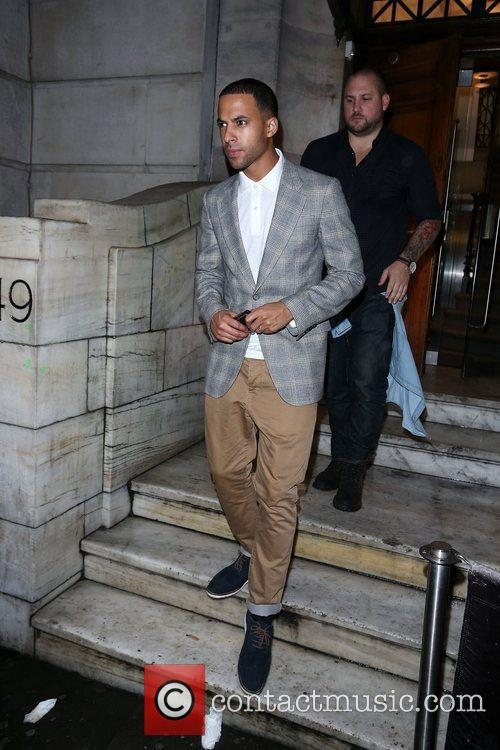 Marvin Humes of JLS   leaving Aura...