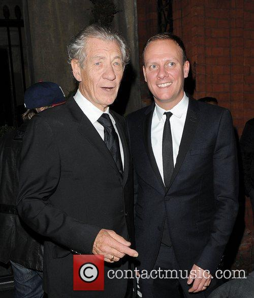 Sir Ian McKellen and Anthony Cotton leaving the...