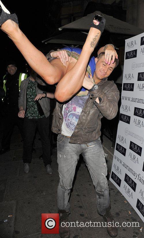 Danielle Mason and boyfriend Tony Giles leaving Aura...