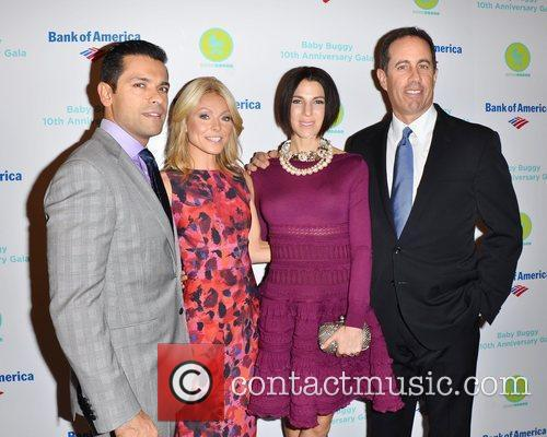 Kelly Ripa, Jerry Seinfeld and Mark Consuelos