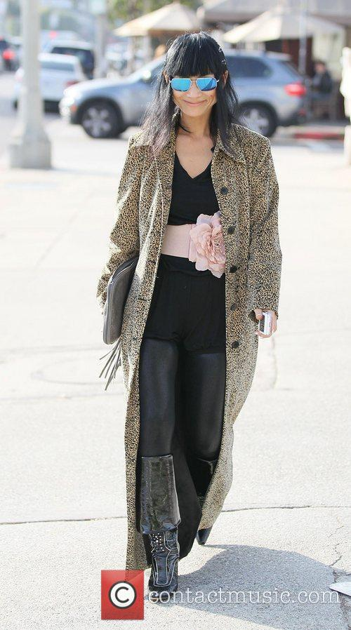 Bai Ling leaves the Kings Road Cafe after...