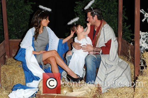 Posh, Becks & Harper Seven Nativity Scene at...