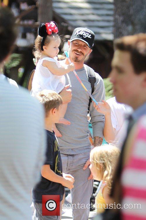 David Beckham, Harper Beckham,  Beckham family on...