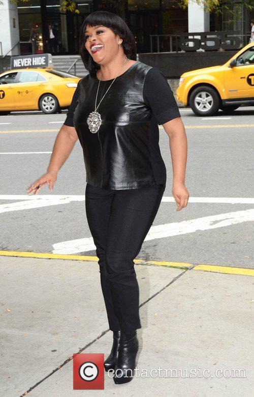 Arrives at BET Studios in Manhattan