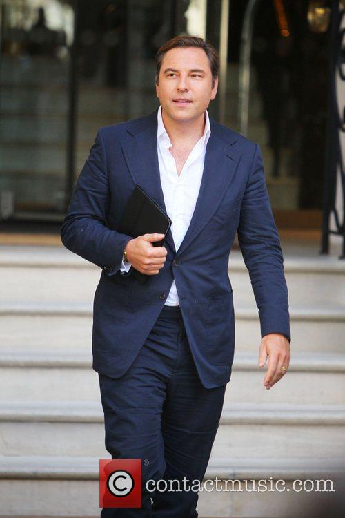 David Walliams leaves Justin Bieber's hotel in London...