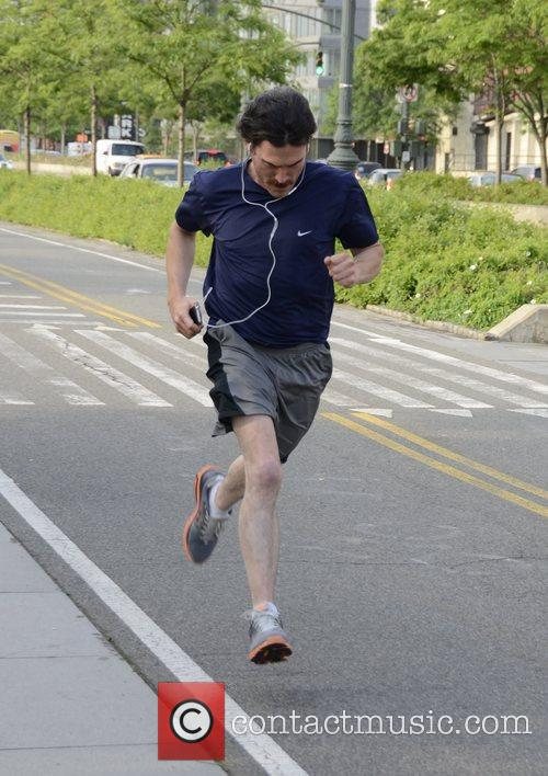 Billy Crudup going for a run along the...