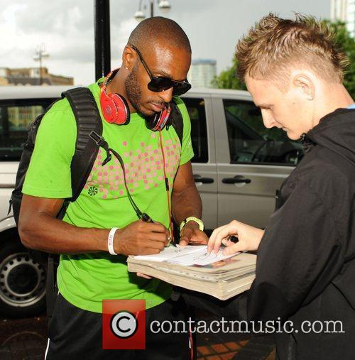 Angelo Taylor Athletes meet fans outside their hotel...