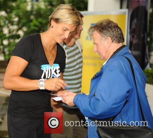 Barbora Spotakova Athletes meet fans outside their hotel...