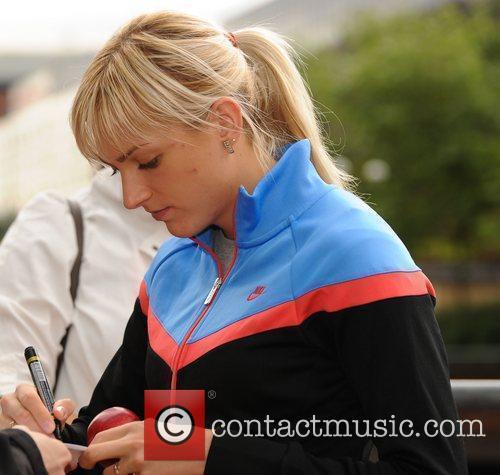 Irina Davidova Athletes meet fans outside their hotel...