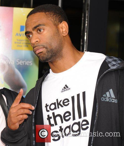 Tyson Gay Athletes meet fans outside their hotel...
