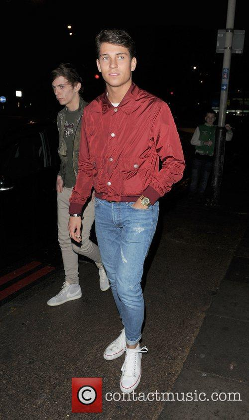Joey Essex leaving the Blackberry BBM party, held...