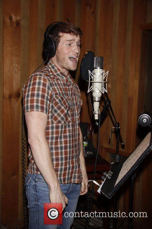 The cast recording session of the Broadway musical...