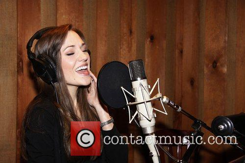 Laura Osnes  The cast recording session of...