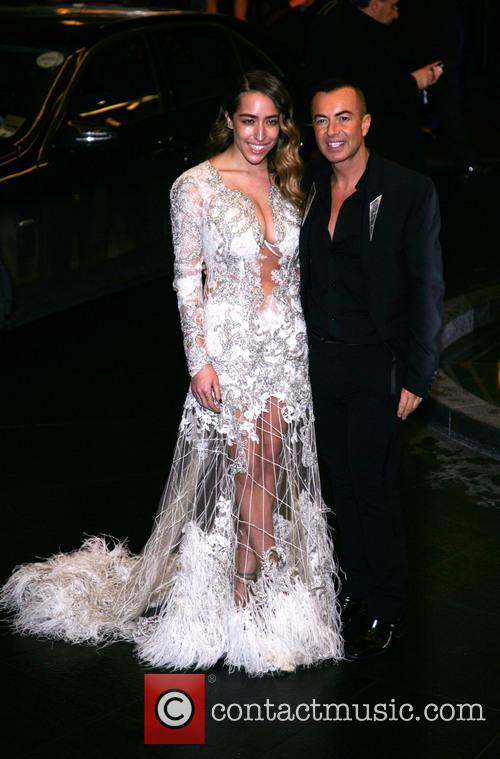 Delilah and Julien Macdonald arriving at the Savoy...