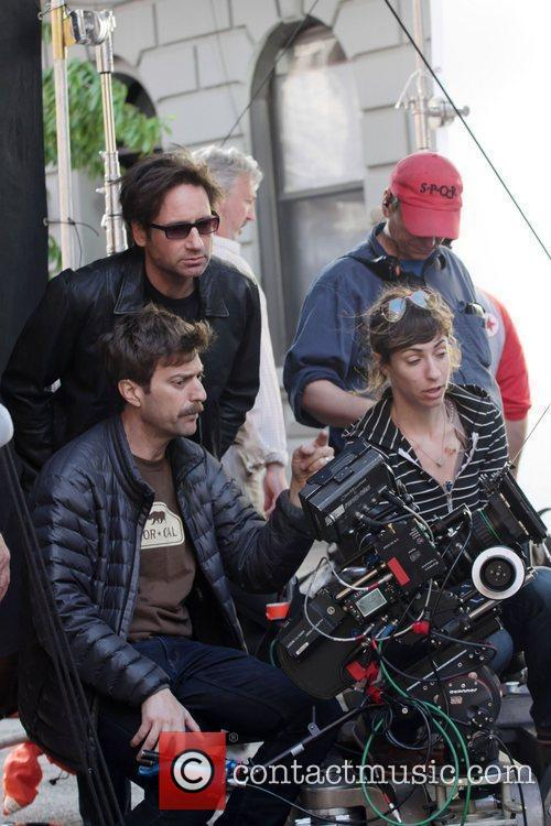 david duchovny films a flashback scene for 3839444
