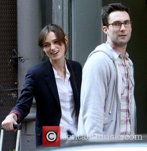 Adam Levine and Keira Knightley on the set...