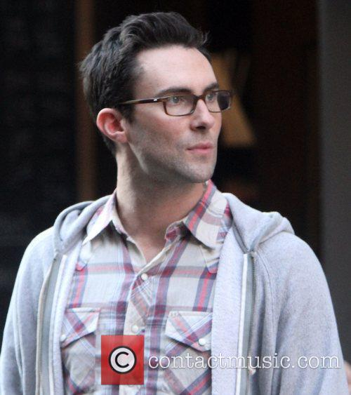 Adam Levine on the set of his new...
