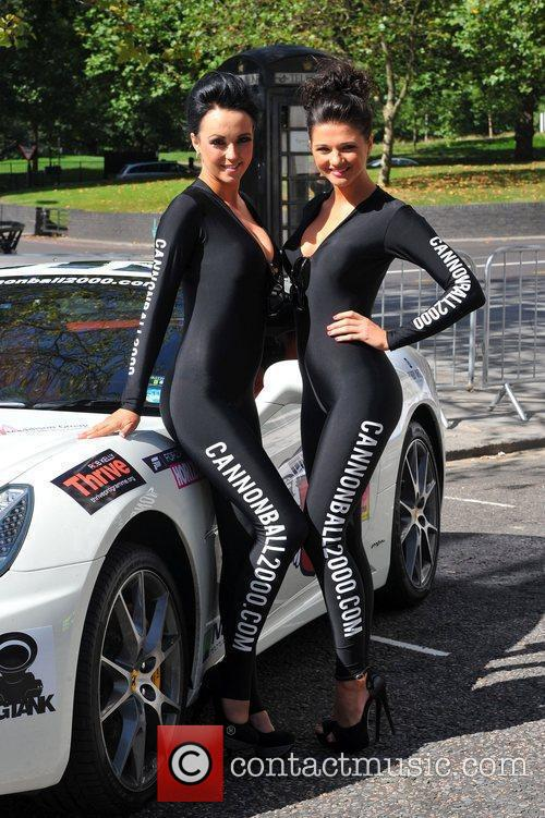 Cannonball 2000 models attending the Cannonball 2000 Launch...
