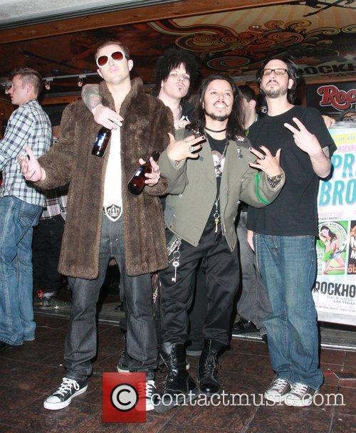 Carlos Ramirez and friends outside the Rockhouse Bar...