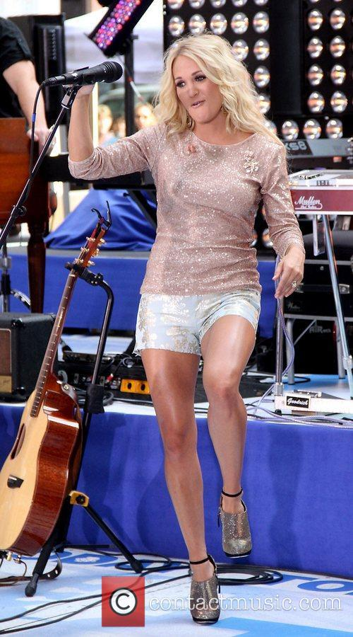 Carrie Underwood performs live at Rockefeller Plaza as...