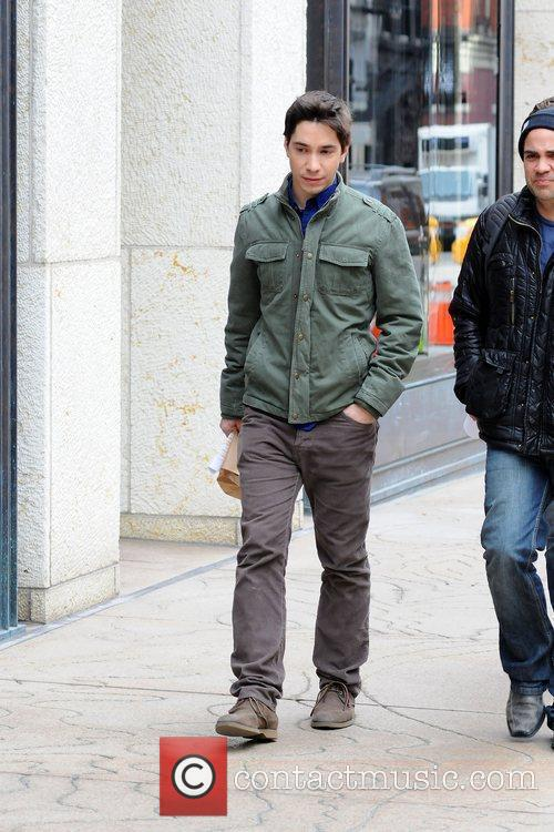 Justin Long filming on location in Manhattan for...