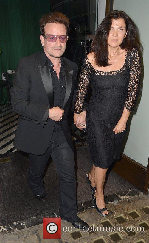 Bono and Alison Hewson leaving Cecconi's restaurant...