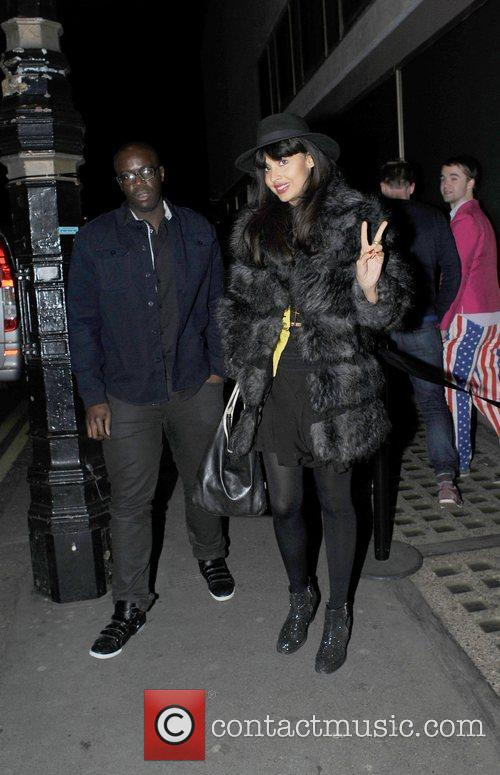 Jameela Jamil arrives at Whisky Mist in London