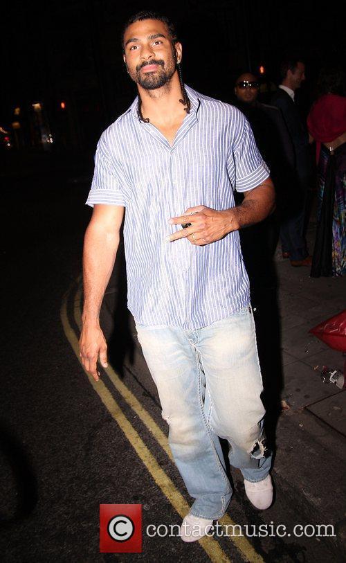 David Haye leaving Aura Mayfair nightclub after attending...