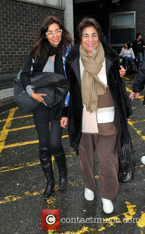 Shobna Gulati and her mother arrive at Euston...