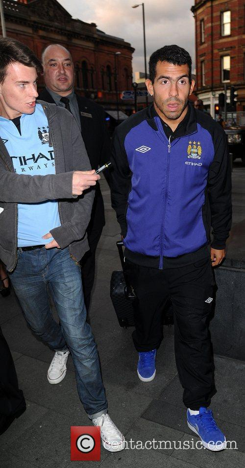 Carlos Tevez Celebrities outside the Hilton Hotel Manchester,...