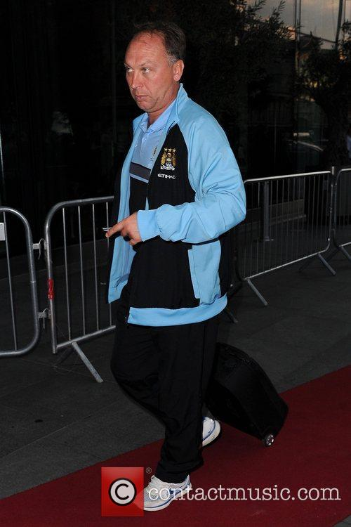 David Platt Celebrities outside the Hilton Hotel Manchester,...