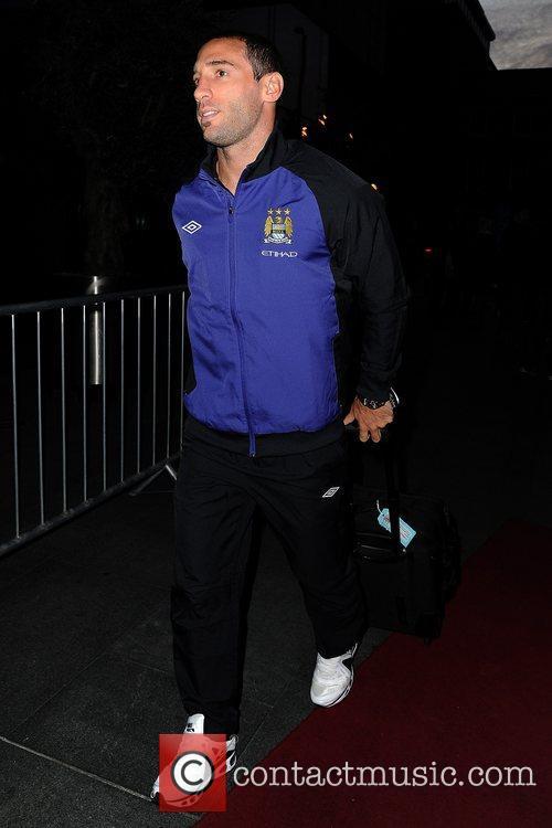 Pablo Zabaleta Celebrities outside the Hilton Hotel Manchester,...
