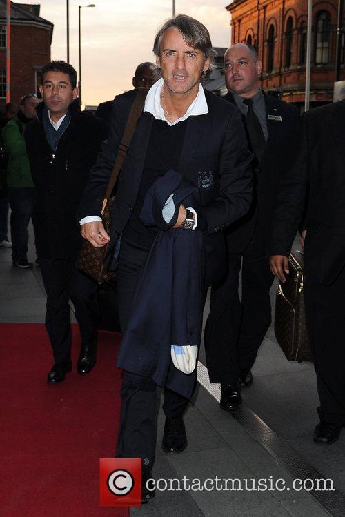Roberto Mancini Celebrities outside the Hilton Hotel Manchester,...