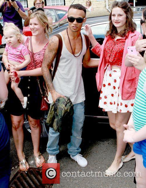 Aston Merrygold and fans Celebrities leaving their hotel...