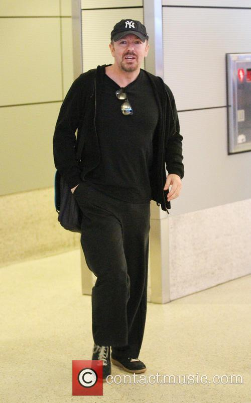 Ricky Gervais arriving at LAX airport