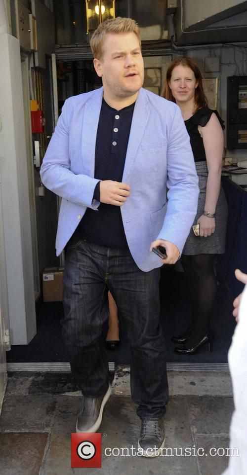 James Corden leaves a theatre to head for...