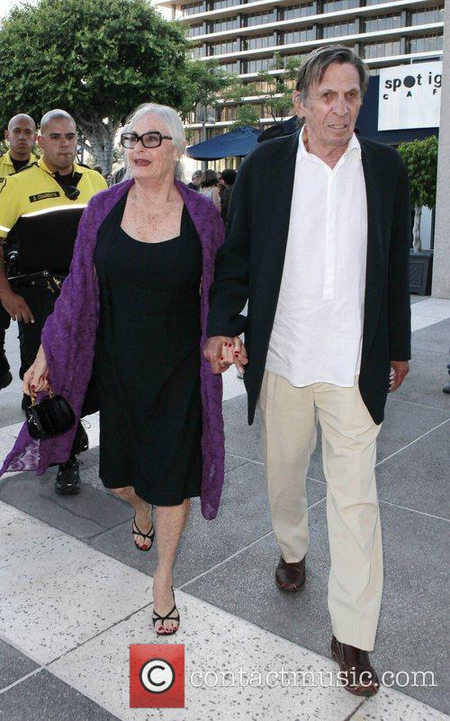 Leonard Nimoy and his wife arrive to watch...