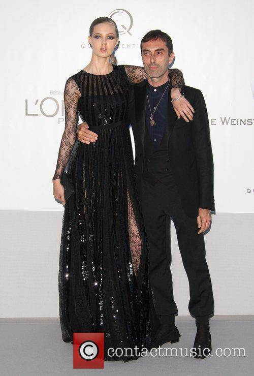 Lindsay Wixson and Riccardo Tisci and guest AmfAR's...