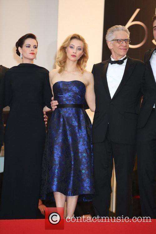 Actresses Emily Hampshire (l-r), Sarah Gadon and director...