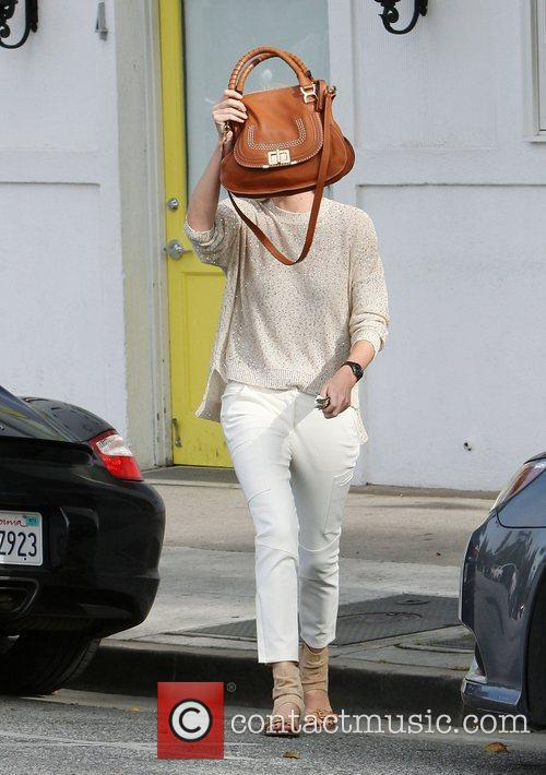 Charlize Theron is seen leaving Byron & Tracey...
