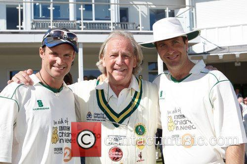 Andrew Strauss and Michael Vaughan with David English...