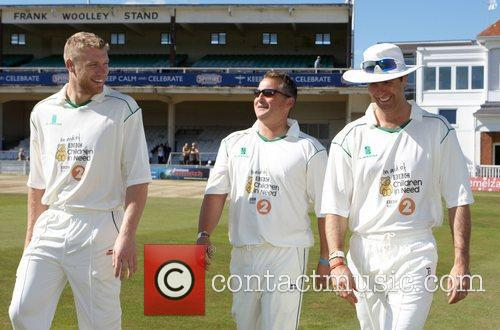 Freddie Flintoff, Darren Gough and Michael Vaughan The...