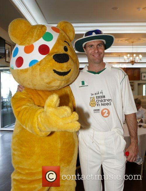 Michael Vaughan with Pudsey bear The Chris Evans...
