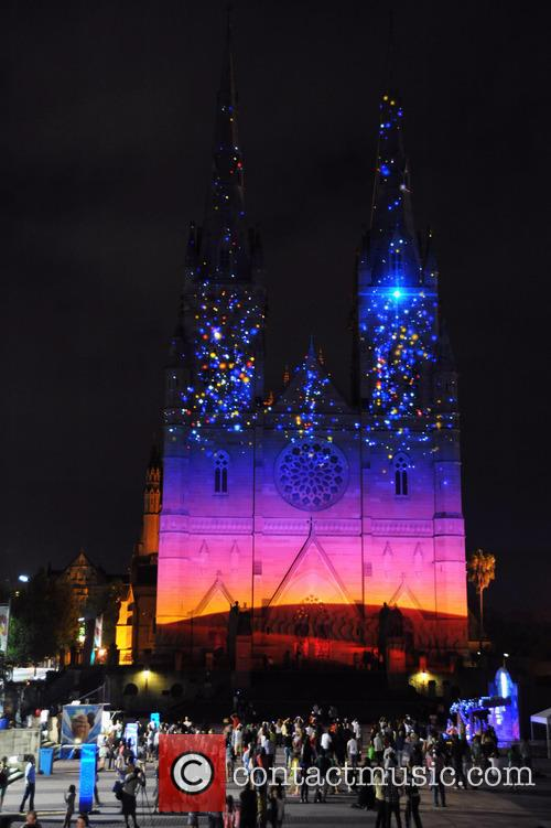 St Mary's Cathederal Festive images are projected on...