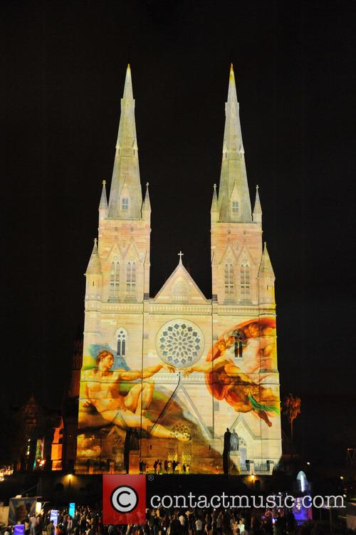 Festive images are projected on St Mary's Cathedral