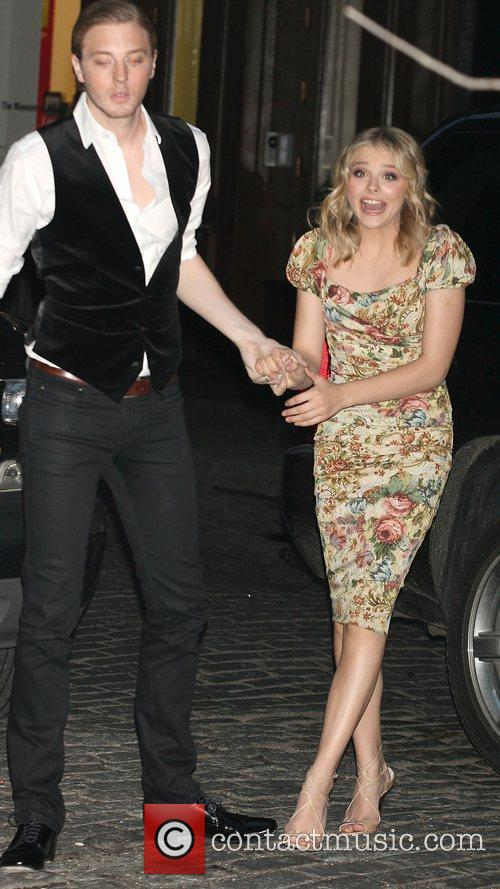 Chloe Moretz in a floral dress arrives at...