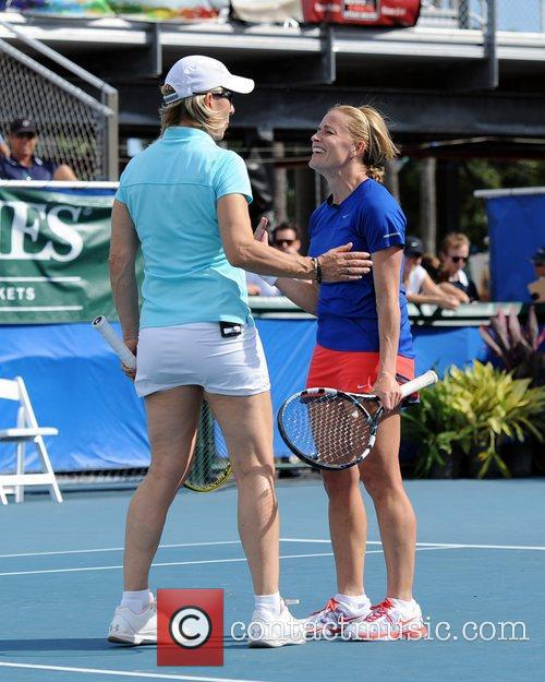 Martina Navratalova and Elizabeth Shue   participates...